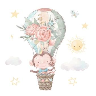Set von niedlichen cartoon-affen in einem heißluftballon. aquarellillustration.