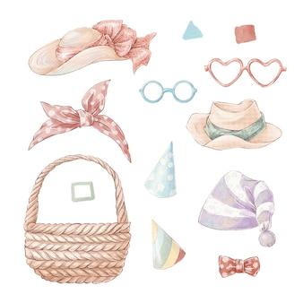 Set von niedlichen cartoon-hüten und brillen. aquarellillustration