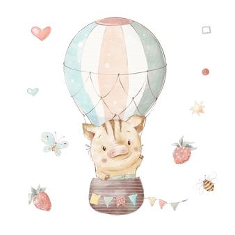 Set von niedlichen cartoon-schwein in einem heißluftballon. schmetterlingsbeere biene.