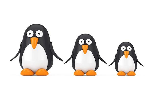 Set von niedlichen schwarz-weiß-spielzeug-cartoon-pinguine auf weißem hintergrund. 3d-rendering