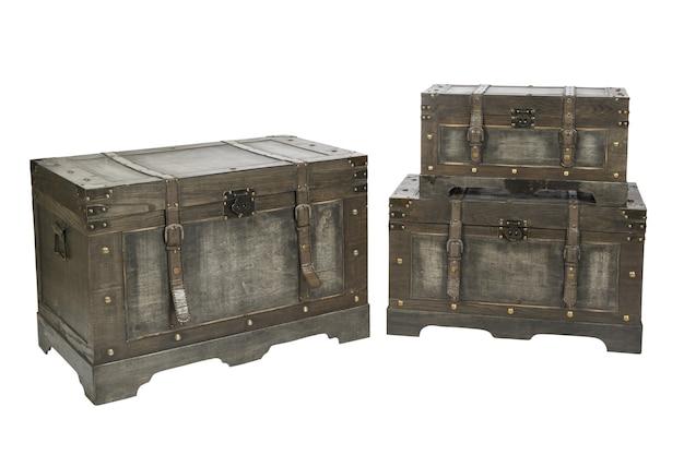 Set von vintage-truhe-aufbewahrungsboxen isoliert auf weißem hintergrund