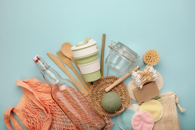 Set wiederverwendbarer umweltfreundlicher produkte