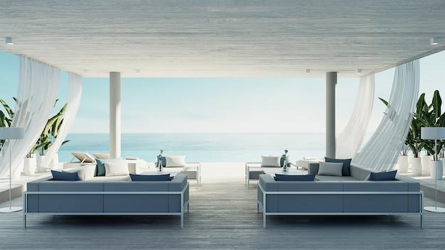 Setzen sie lebenden aufenthaltsraum - ozeanlandhausküsten- u. -seeansicht für ferien auf den strand und summer / 3d übertragen innenraum