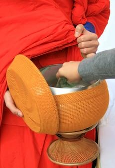 Setzen sie opfergaben in die almosenschale eines buddhistischen mönchs, thailand
