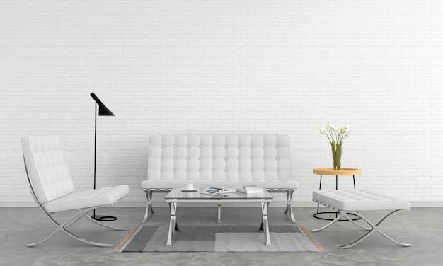 Setzen sie weißes sofa im wohnzimmer
