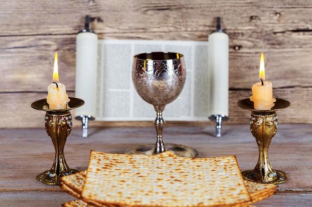 Shabbat shalom - traditionelles jüdisches sabbatmatzah- und weinritual