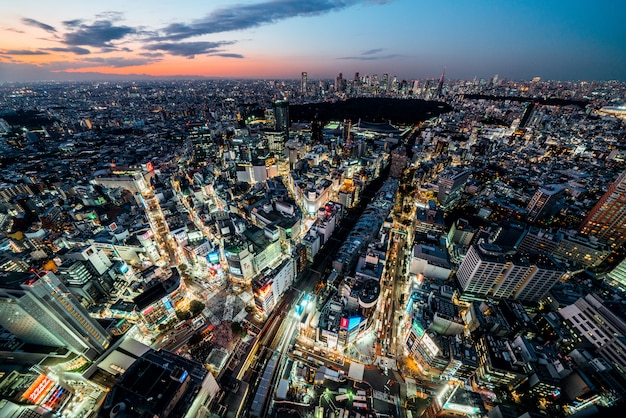 Shibuya-jagdüberfahrt-stadtbildlandschaft, autoverkehrstransport