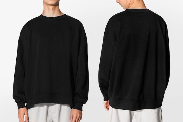 Shooting mit schwarzer pulloverbekleidung mit designraum