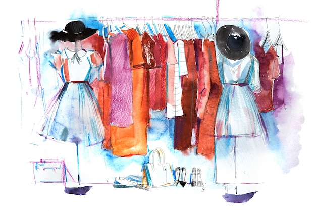 Shopping mall store kleidung ausstellung aquarell illustration