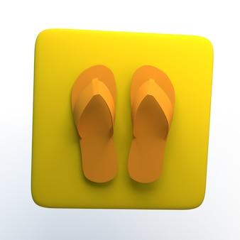 Shopping-symbol mit flip-flops auf weißem hintergrund isoliert. 3d-darstellung. app.