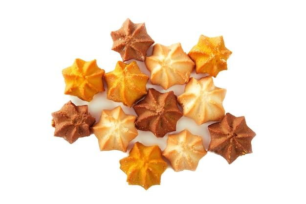 Shortbread-kekse verschiedener formen mit isolierter füllung