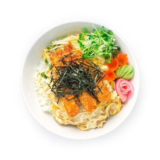 Shrimp tempura don mit reis oder frittierten shrimps