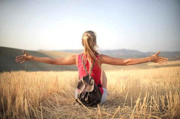 Sich frei und glücklich fühlen