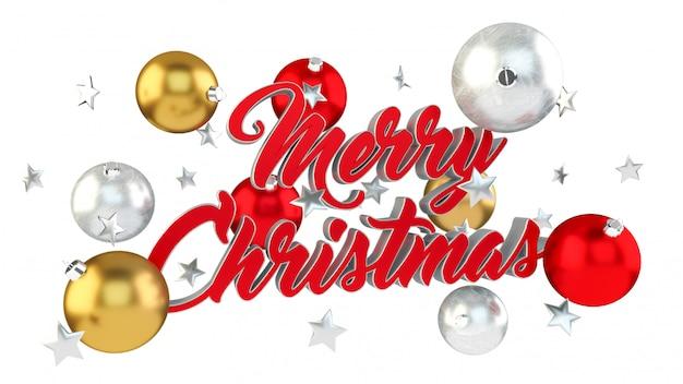 Sich hin- und herbewegende weihnachtsbotschaft mit wiedergabe der weihnachtsbälle 3d