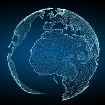 Sich hin- und herbewegende weiße und blaue wiedergabe des planetenerdnetzes 3d
