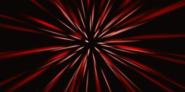 Sich schnell bewegende lichtspuren zoom explosion von licht 3d-darstellung