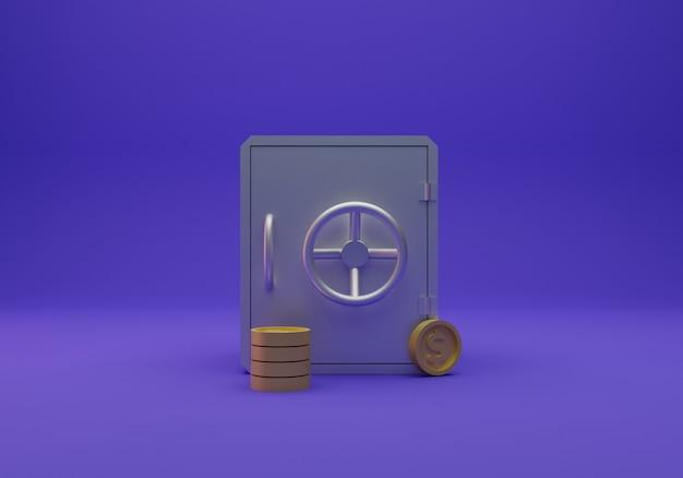 Sicheres geld und münze isoliert, 3d-rendering