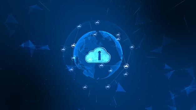 Sicheres globales netzwerk. cyber-sicherheitskonzept der digitalen wolke rechnend. erdelement von der nasa eingerichtet