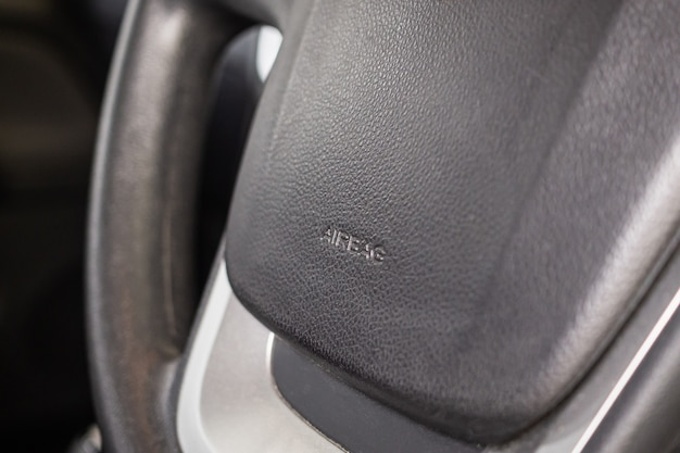Sicherheitsairbagschild am autolenkrad