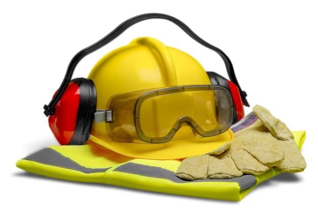 Sicherheitsausrüstung - helm, schutzbrille, gehörschutz, weste und handschuhe