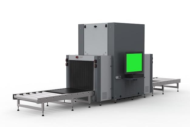 Sicherheitskontrolle am flughafen mit scanner-maschine