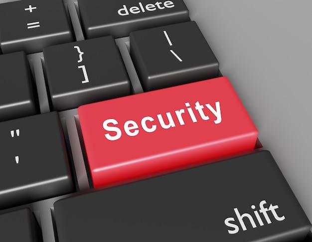 Sicherheitskonzept. wortsicherheit auf der taste der computertastatur