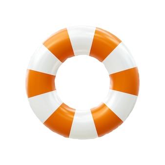 Sicherheitsring für hilfe bei der rettung des lebens oder rettung des rettungsrings isoliert auf weißem notfall nautischer sos-sicherer hintergrund mit rettungsschwimmer-gurtunterstützungsobjekt. 3d-rendering.