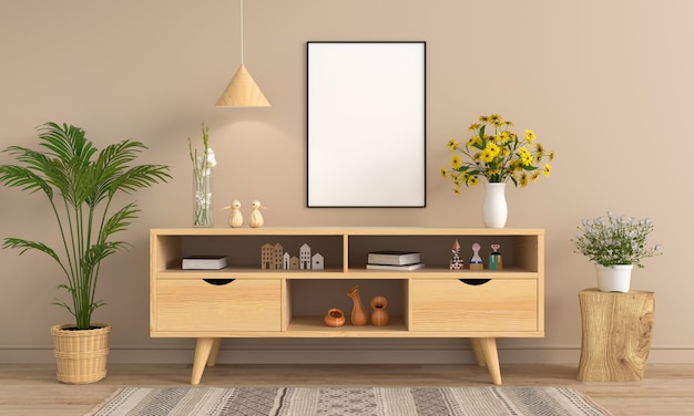 Sideboard und leerer fotorahmen