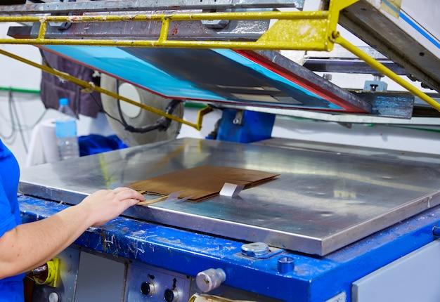 Siebdruckdruck sackt maschinenfabrik ein