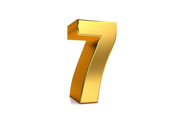 Sieben 3d-illustration goldene zahl 7 auf weißem hintergrund und kopienraum auf der rechten seite für text am besten für jubiläumsgeburtstag neujahrsfeier