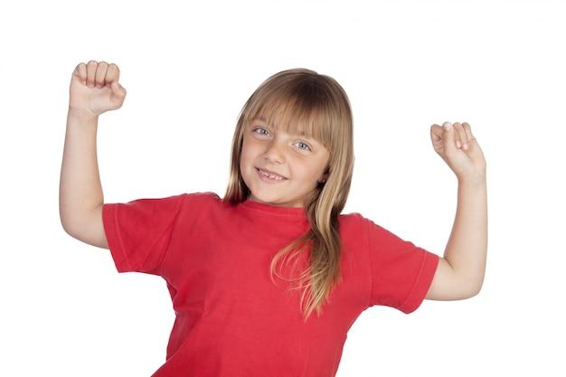 Siegermädchen mit rotem t-shirt