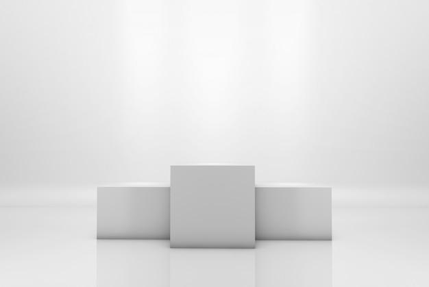Siegerpodest auf weißem beleuchtetem hintergrund