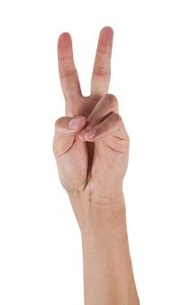 Sieghandzeichen getrennt auf weiß