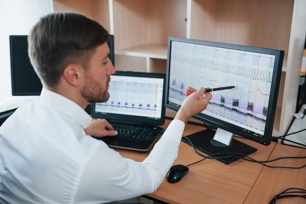 Sieht sehr schlecht aus. der polygraph-prüfer arbeitet im büro mit der ausrüstung seines lügendetektors