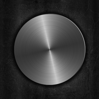 Silber gebürstetem metallknopf auf einem grunge hintergrund