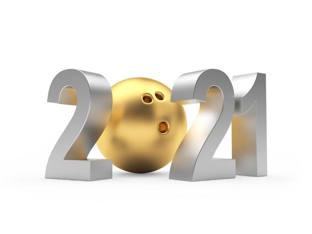Silber nummer 2021 und goldene bowlingkugel