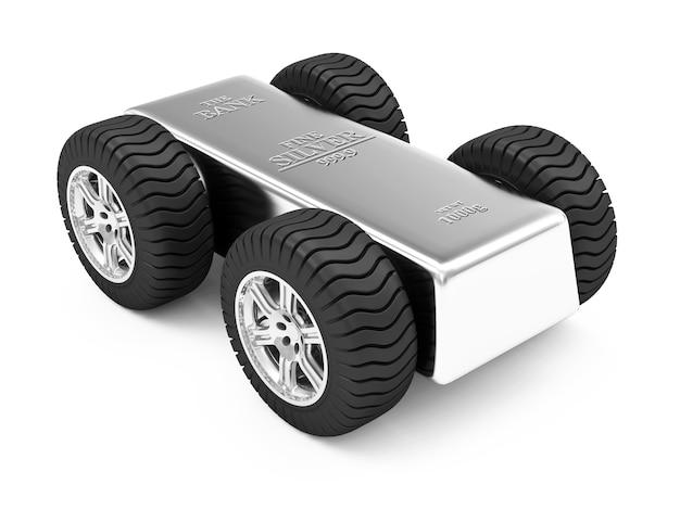 Silberbarren auf rädern auf weiß
