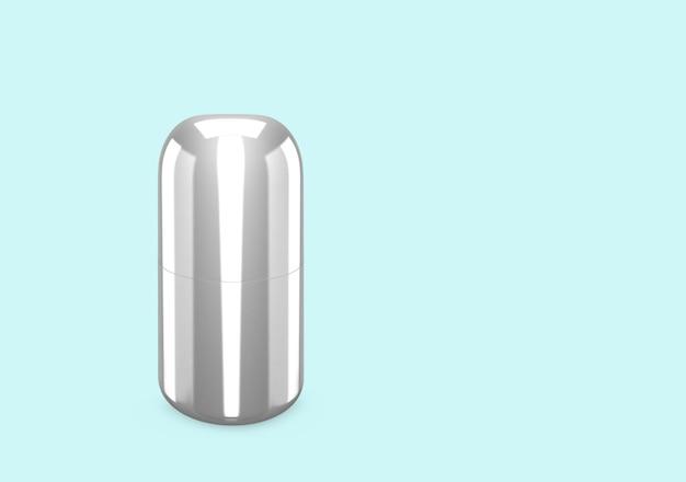 Silbermetallisches duschgel-flaschenmodell vom hintergrund isoliert: duschgel-metallverpackungsdesign. leere hygiene-, medizin-, körper- oder gesichtspflegevorlage. 3d-darstellung