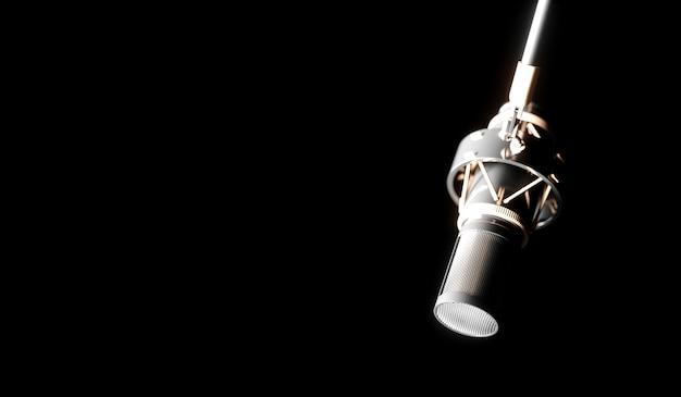 Silbermikrofon auf einer schwarzen hintergrundnahaufnahme, 3d illustration