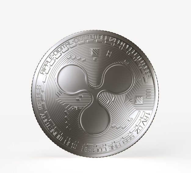 Silbermünze der kryptowährung mit welligkeitssymbol auf der vorderseite lokalisiert auf weißem hintergrund. 3d-rendering-illustration.