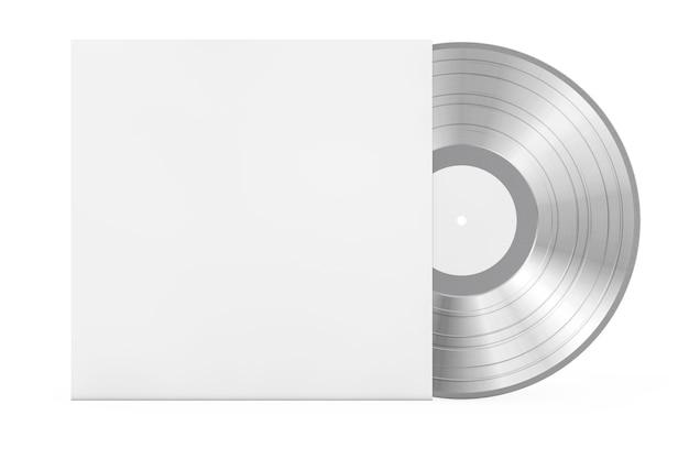Silberne alte schallplatte in leerem papieretui mit freiem platz für ihr design auf weißem hintergrund. 3d-rendering