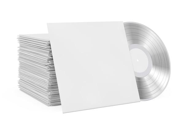 Silberne alte schallplatte in leerem papieretui mit freiem platz für ihr design in der nähe von stapel von schallplatten auf weißem hintergrund. 3d-rendering