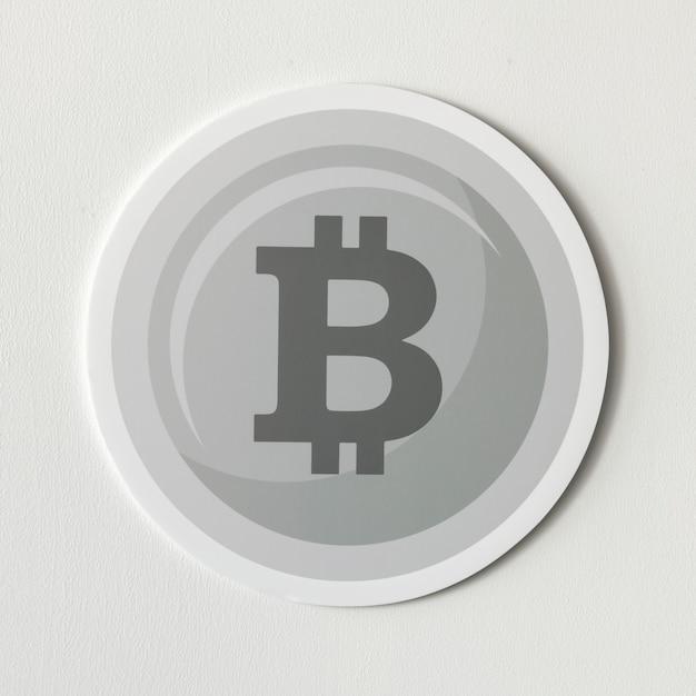 Silberne bitcoin cryptocurrency ikone getrennt