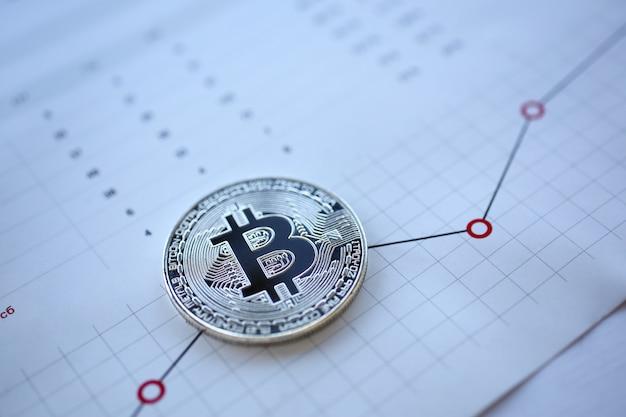 Silberne bitcoin zeichenmünze, die an der statistikdiagramm-papiernahaufnahme liegt