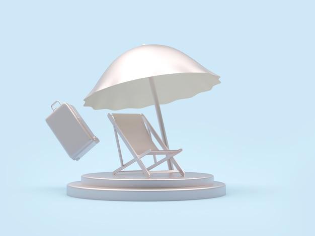 Silberne chaiselongue mit sonnenschirm und koffer auf ständer