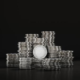 Silberne nft-münzen stapeln sich in der schwarzen szene, digitale währungsmünze für finanz-, token-austauschförderung. 3d-rendering