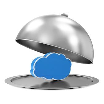 Silberne schale mit cloud-computing-symbol lokalisiert auf weißem hintergrund