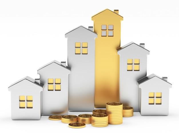 Silberne und goldene häuser einer grafik und münzen