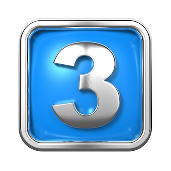 Silberne zahlen im rahmen, auf blauem hintergrund. nummer 3