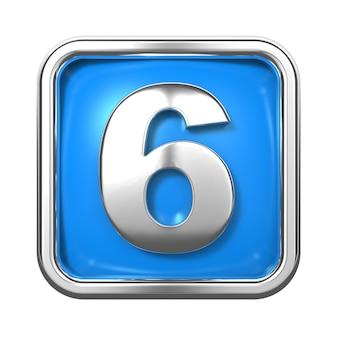 Silberne zahlen im rahmen, auf blauem hintergrund. nummer 6